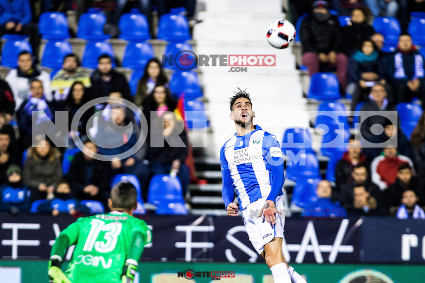 "Valencia's Jaume, and Club Deportivo Leganes's Omar Ramos during the match of ""Copa del Rey"" between CD Leganes and Valencia CF at Butarque Stadium in Leganes, Spain. November 29, 2016. (ALTERPHOTOS/Rodrigo Jimenez) /NORTEPHOTO.COM"