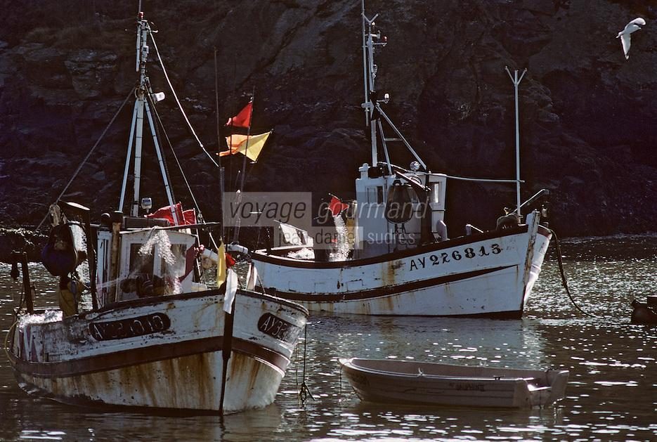 Europe/France/Bretagne/56/Morbihan/Belle-île/Sauzon: Bateaux de pêche sur le port
