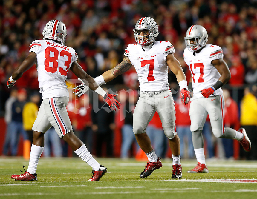 Jalin Marshall (7) of the Ohio State Buckeyes celebrates after a punt return with Ohio State Buckeyes wide receiver Terry McLaurin (83) during Saturday's NCAA Division I football game against the Rutgers Scarlet Knights at High Point Solutions Stadium in New Jersey on Saturday, October 24, 2015. (Dispatch Photo by Barbara J. Perenic)