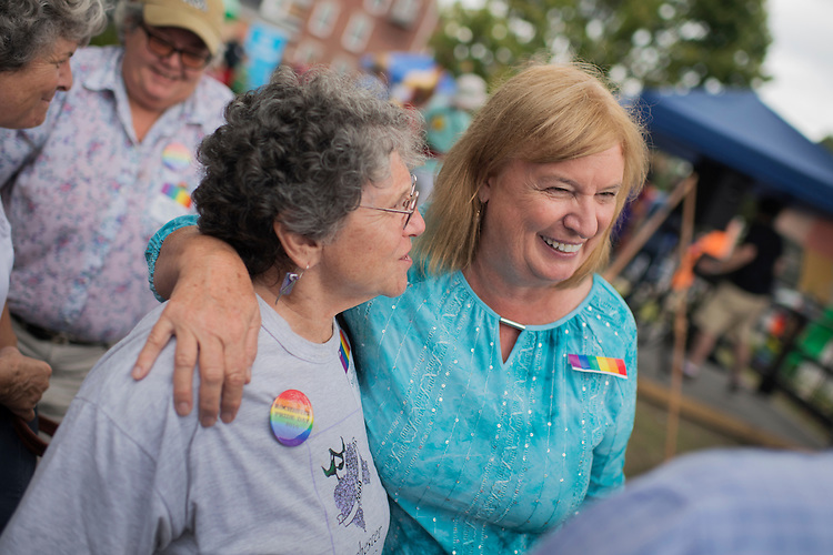 UNITED STATES - SEPTEMBER 10:  Carol Shea-Porter, right, Democratic candidate for New Hampshire's 1st Congressional District, talks with guests at a Pride Day event in Rochester N.H., September 10, 2016.(Photo By Tom Williams/CQ Roll Call)