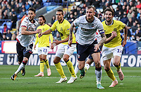 Bolton Wanderers' Will Buckley and David Wheater attack a cross as Blackburn Rovers' Jack Rodwell and Charlie Mulgrew defend<br /> <br /> Photographer Andrew Kearns/CameraSport<br /> <br /> The EFL Sky Bet Championship - Bolton Wanderers v Blackburn Rovers - Saturday 6th October 2018 - University of Bolton Stadium - Bolton<br /> <br /> World Copyright &copy; 2018 CameraSport. All rights reserved. 43 Linden Ave. Countesthorpe. Leicester. England. LE8 5PG - Tel: +44 (0) 116 277 4147 - admin@camerasport.com - www.camerasport.com