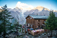 The Europa Hut, on the Via Valais, a multi-day trail running tour connecting Verbier with Zermatt, Switzerland.