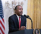 United States Secretary of Housing and Urban Development (HUD) Ben Carson addresses the  2018 Young Black Leadership Summit at The White House in Washington, DC on Friday, October 26, 2018.<br /> Credit: Chris Kleponis / Pool via CNP