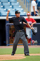 Umpire Takahito Matsuda during a Gulf Coast League between the GCL Yankees and GCL Phillies at Legends Field on July 17, 2012 in Tampa, Florida.  GCL Phillies defeated the GCL Yankees 4-2.  (Mike Janes/Four Seam Images)