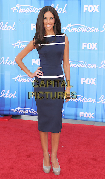 Terri Seymour.American Idol Season 11 Finale - Arrivals held at Nokia Theatre LA Live, Los Angeles, California, USA..May 23rd, 2012.full length blue white sleeveless dress hand on hip stripe.CAP/ROT/TM.©Tony Michaels/Roth Stock/Capital Pictures