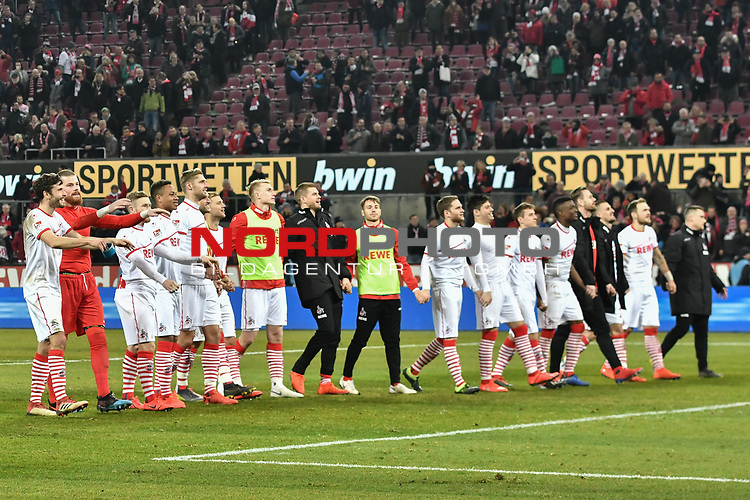 08.02.2019, Rheinenergiestadion, K&ouml;ln, GER, DFL, 2. BL, VfL 1. FC Koeln vs FC St. Pauli, DFL regulations prohibit any use of photographs as image sequences and/or quasi-video<br /> <br /> im Bild Schlussjubel / Schlu&szlig;jubel / Emotion / Freude / die Mannschaft von Koeln vor Fankurve / Fans / Fanblock / <br /> <br /> Foto &copy; nph/Mauelshagen