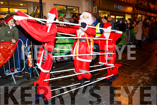 Dancing Santas at the Kiilarney Christmas parade on Saturday night