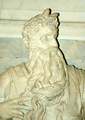 """Michelangelo's """"Moses""""  which is housed in Rome, Italy at the San Pietro in Vincoli (St. Peter in Chains) Church on April 4, 2006.  The sculpture is in front of the tomb of Pope Julius II, who commissioned its creation..Credit: Ron Sachs / CNP"""