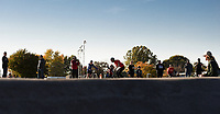 NWA Democrat-Gazette/CHARLIE KAIJO Attendees watch riders from All Bikes All Day NWA perform tricks, Sunday, November 3, 2019 during the Runway Bike Park's first birthday celebration at the Jones Center's Runway Bike Park in Springdale.<br /> <br /> Riders took to the pump track and bicycle playground to celebrate along with community bike groups Buddy Pegs, Groove Skate Shop and All Bikes All Day NWA