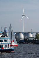 GERMANY, Hamburg, annual port event Hafengeburtstag with sailing ships on river Elbe and Nordex wind turbine at Hamburg Wasser Koehlbrandhoeft / DEUTSCHLAND Hamburg, Hafengeburtstag, Boote, Schiffe auf der Elbe vor Nordex Windkraftanlage auf dem Koehlbrandhoeft von Hamburg Wasser, , Faultuerme der Biogasanlage auf dem Klaerwerk
