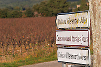 Chateau Villerambert-Moureau. Caveau tasting room and shop open every day. Chateau Villerambert-Julien near Caunes-Minervois. Minervois. Languedoc. France. Europe. Vineyard.