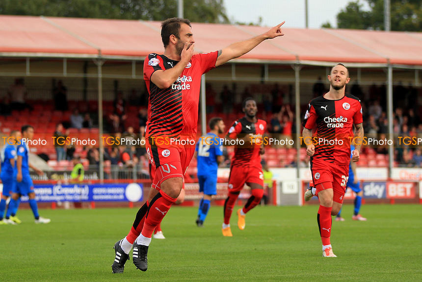 Simon Walton of Crawley Town celebrates scoring from the spot for Crawley Town's 3rd of the game during Crawley Town vs Leyton Orient, Sky Bet League 2 Football at Broadfield Stadium, Crawley, England on 10/10/2015