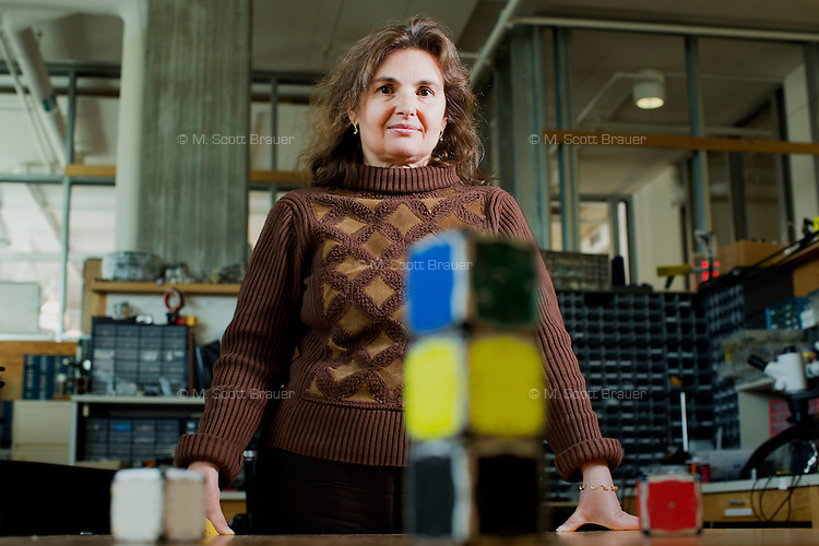 Daniela Rus is a Professor of Electrical Engineering and Computer Science and Director of the Computer Science and Artificial Intelligence Laboratory at MIT in Cambridge, Massachusetts, USA. Her lab, the Distributed Robotics Lab, has developed M-Blocks, 50mm cube robots that can reconfigure themselves into various arrangments using self-propulsion and magnets.
