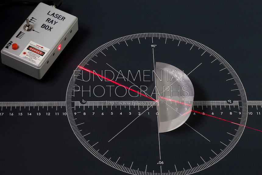 SINGLE LASER BEAM REFRACTED THROUGH LUCITE BLOCK<br /> Point Source Beam Changes Angle of Incidence.Refraction occurs when a wave changes its path due to the speed at which it travels. The speed of the light beam is determined by the media it travels through. A light beam projected through the air hits a lucite block and is refracted at 30 degrees.