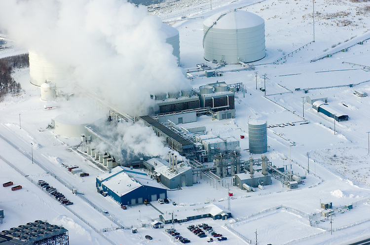 A liquified natural gas plant owned by ConocoPhillips and Marathon Oil Corp. is pictured from the air. The Nikiski, Alaska, facility is the only LNG plant permitted in the United States to export product from the U.S. It will close in late 2011. ConocoPhillips cited declining market conditions in Asia and difficulty obtaining enough natural gas in Alaska as reasons for closing the plant.