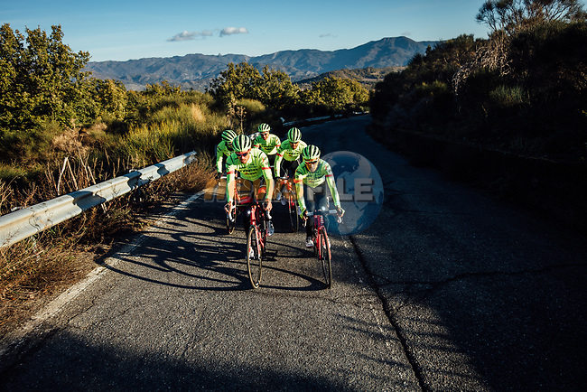 Trek-Segafredo presented their new race and training kits for the 2018 season today. The new pinstriped kits in red and high vis green were revealed at JSH Il Picciolo Etna Golf Resort in Sicily at the team's Media Day. Sicily, Italy 14th December 2017.<br /> Picture: Trek Factory Racing | Cyclefile<br /> <br /> <br /> All photos usage must carry mandatory copyright credit (© Cyclefile | Trek Factory Racing)