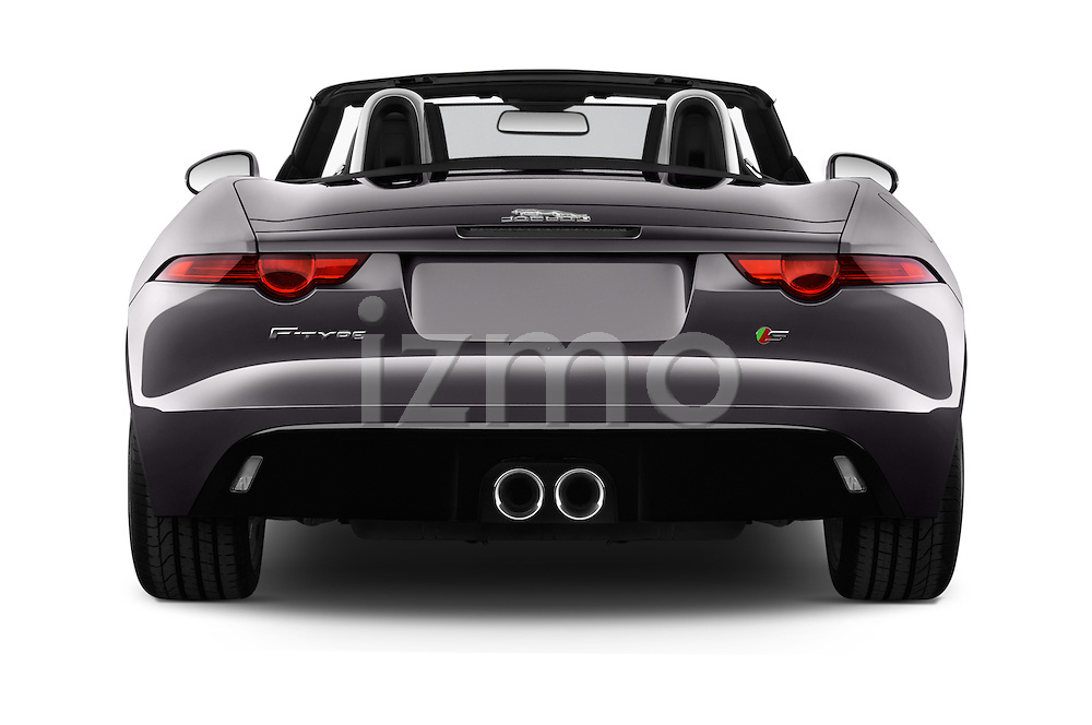 Straight rear view of 2017 Jaguar F-TYPE S-Convertible 2 Door Convertible Rear View  stock images