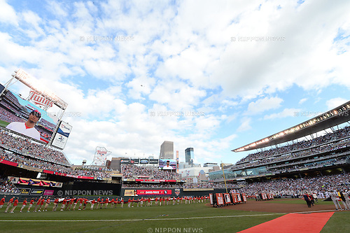 General view,<br /> JULY 15, 2014 - MLB :<br /> The screen shows American League All-Star Yu Darvish of the Texas Rangers during the pre-game ceremony before the 2014 Major League Baseball All-Star Game at Target Field in Minneapolis, Minnesota, United States. (Photo by AFLO)
