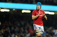 Pictured: Justin Tipuric of Wales celebrates at full time during the Guinness six nations match between Wales and England at the Principality Stadium, Cardiff, Wales, UK.<br /> Saturday 23 February 2019
