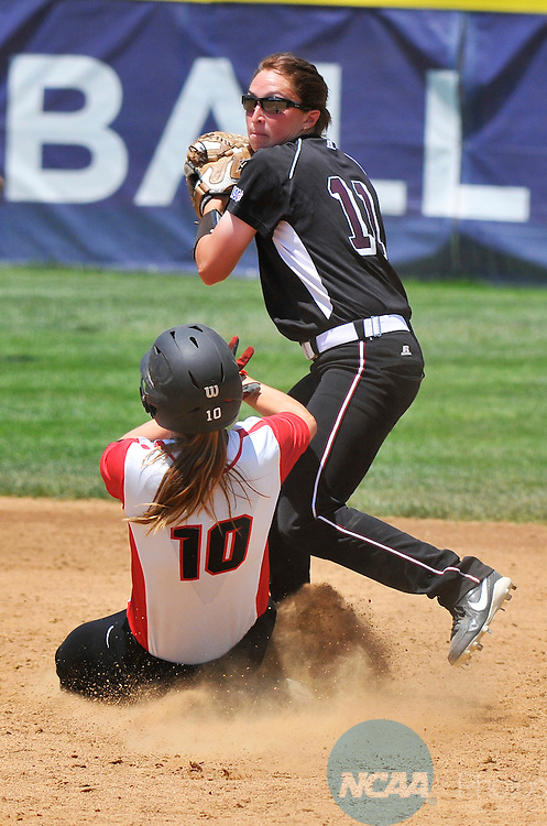 26 MAY 2014: Fran Johnson (10) of Valdosta State University slides into second base while defended by  Brittany Gehle (11) for a force out during the Division II Women's Softball Championship held at the Moyer Sports Complex in Salem, VA.  West Texas defeated Valdosta State 3-2 for the national title.  Andres Alonso/NCAA Photos