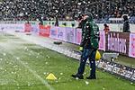 10.03.2019, HDI Arena, Hannover, GER, 1.FBL, Hannover 96 vs Bayer 04 Leverkusen<br /> <br /> DFL REGULATIONS PROHIBIT ANY USE OF PHOTOGRAPHS AS IMAGE SEQUENCES AND/OR QUASI-VIDEO.<br /> <br /> im Bild / picture shows<br /> Helfer platzieren w&auml;hrend der ersten Halbzeit gelbe H&uuml;tchen als Markierung f&uuml;r eingeschneite Strafraumlinien, <br /> <br /> Foto &copy; nordphoto / Ewert
