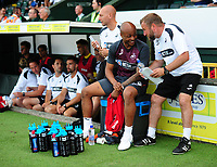 André Ayew of Swansea City shares a joke with Swansea City assistant manager Billy Reid during the Pre-Season Friendly between Yeovil and Swansea City at Huish Park, Yeovil, England, UK. Tuesday 10 July 2018