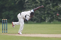 Israel Ochwo of Goresbrook during Goresbrook CC (Bowling)  vs Rainham CC (Batting), T Rippon Mid Essex Cricket League Cricket at May & Baker Sports Club on 12th May 2018