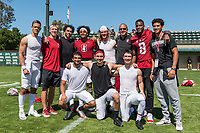 STANFORD, CA -- April 14, 2018. <br /> Bobby Kennedy and wide receivers after the 2018 Stanford Spring Football game Saturday afternoon at the Laird Q. Cagan Stadium.