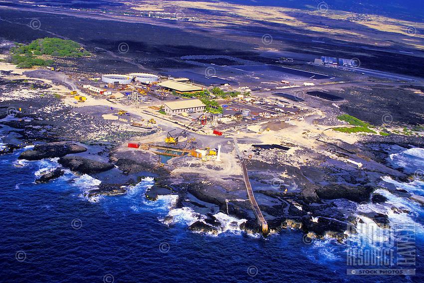 Aerial of the Hawaii Ocean Science Technology Park in Kona, Big Island of Hawaii.