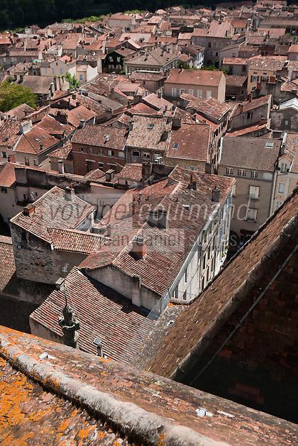 Europe/Europe/France/Midi-Pyrénées/46/Lot/Cahors: Vue sur les toits de la vieille  ville depuis le  clocher de la Cathédrale Saint-Etienne