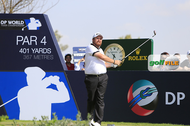 Shane Lowry (IRL) on the 11th tee during Round 3 of the DP World Tour Championship at the Earth course,  Jumeirah Golf Estates in Dubai, UAE,  21/11/2015.<br /> Picture: Golffile | Thos Caffrey<br /> <br /> All photo usage must carry mandatory copyright credit (&copy; Golffile | Thos Caffrey)