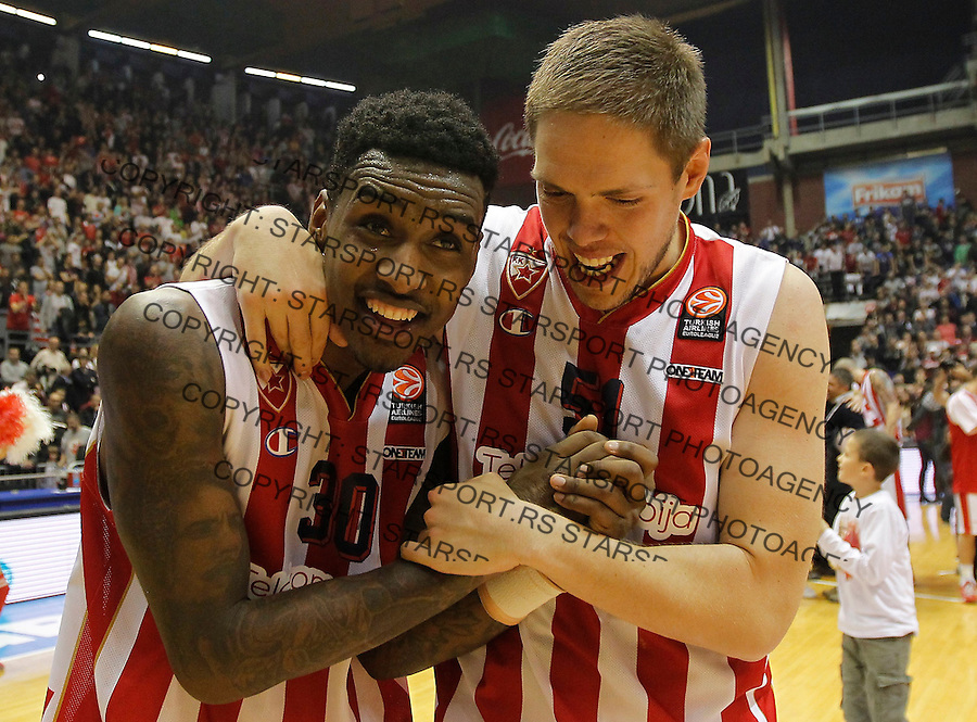 Kosarka Euroleague season 2015-2016<br /> Euroleague <br /> Crvena Zvezda v Real Madrid<br /> Quincy Miller and Vladimir Stimac celebrate<br /> Beograd, 27.11.2015.<br /> foto: Srdjan Stevanovic/Starsportphoto &copy;
