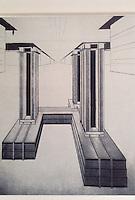 Russia:  Cloud Hanger, 1924. Design for a skyscraper on the Strastnoj Blvd. By  El Lissitsky