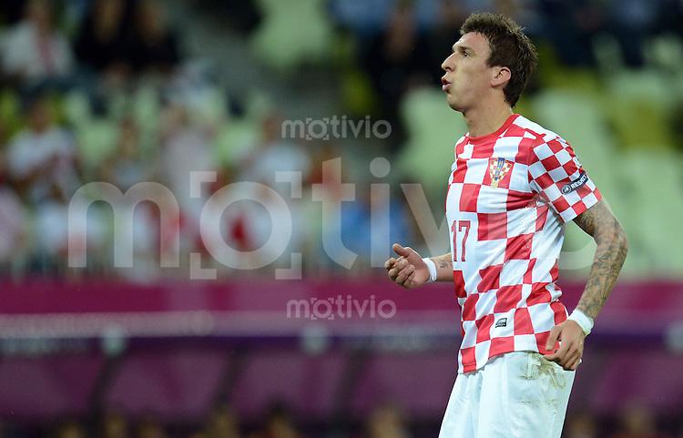 FUSSBALL  EUROPAMEISTERSCHAFT 2012   VORRUNDE Kroatien - Spanien                 18.06.2012 Mario Mandzukic (Kroatien) enttaeuscht