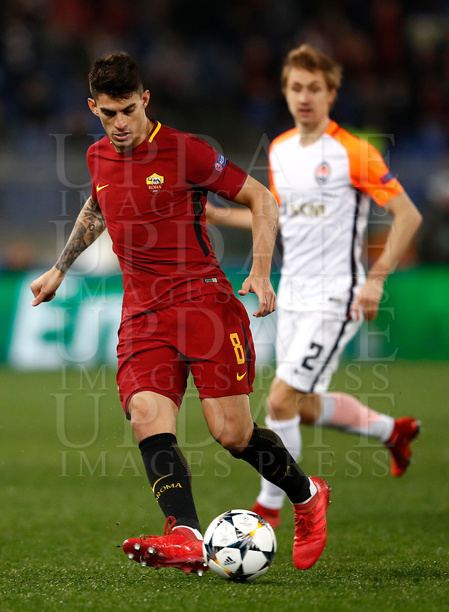 Football Soccer: UEFA Champions League  Round of 16 Second Leg, AS Roma vs FC Shakhtar Donetsk, Stadio Olimpico Rome, Italy, March 13, 2018. <br /> Roma's Diego Perotti in action during the Uefa Champions League football soccer match between AS Roma and FC Shakhtar Donetsk at at Rome's Olympic stadium, March 13, 2018.<br /> UPDATE IMAGES PRESS/Isabella Bonotto