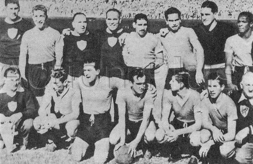 World Cup Uruguay team picture for their 16.07.1950 World Cup football game against Brasil in the Macarena Stadium