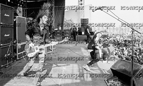 METALLICA - bassist Cliff Burton - performing live at the Poperinge Festival at the Sportsfield in Poperinge Belgium - 10 Jun 1984.  Photo credit: PG Brunelli/IconicPix