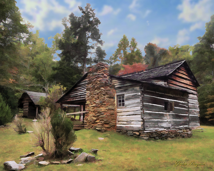 A faux watercolor created from an image of the Walker Sisters Cabin in the Great Smoky Mountains national Park. Transformation done in Photoshop. Smoky Mountain photos by Gordon and Jan Brugman.