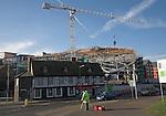 Urban redevelopment of docks, Ipswich Wet Dock, Suffolk, England Construction of new University Sufolk campus waterside building.