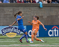 Sky Blue FC midfielder Heather O'Reilly (9) steps into pass attempt by Boston Breakers defender Stephanie Cox (14). Sky Blue FC defeated the Boston Breakers, 2-1, at Harvard Stadium on June 13, 2010.