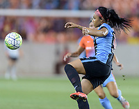 Samantha Johnson (16) of the Chicago Red Stars passes the ball in the first half against the Houston Dash on Saturday, April 16, 2016 at BBVA Compass Stadium in Houston Texas.
