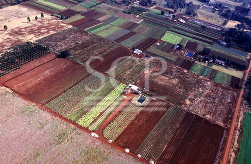 Iguassu, Parana State, Brazil. Aerial view of small farms producing vegetables.