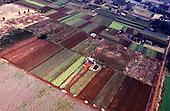 Iguassu, Parana State, Brazil. Aerial view of small farms producing vegetables.