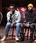 "Deon'te Goodman and Terrance Spencer  during the eduHAM Q & A before The Rockefeller Foundation and The Gilder Lehrman Institute of American History sponsored High School student #EduHam matinee performance of ""Hamilton"" at the Richard Rodgers Theatre on November 13, 2019 in New York City."