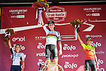 World Champion Annemiek van Vleuten (NED) Mitchelton-Scott wins with Margarita Garcia Cañellas (ESP) Alé BTC Ljubljana 2nd and Leah Thomas (USA) Équipe Paule Ka 3rd place at the end of the 2020 Strade Bianche Elite Women running 136km from Fortezza Medicea Siena to Piazza del Campo Siena, Italy. 1st August 2020.<br /> Picture: LaPresse/Gian Mattia D'Alberto   Cyclefile<br /> <br /> All photos usage must carry mandatory copyright credit (© Cyclefile   LaPresse/Gian Mattia D'Alberto)