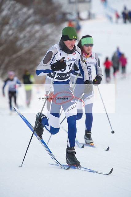 Eagle River's Bradan Tobin leads teammate Anna Ripp up a hill at the Chugiak Stampede Saturday, January 16th, 2016. Tobin placed 30th overall and  fourth among Wolvess' boys with a time of 27:50.5  Ripp had a time of 45:28.2 for the Wolve's B Tearm.  Photo for the Star by  Michael Dinneen