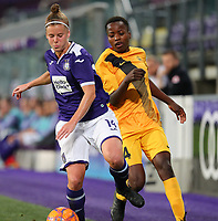 20190912 - Anderlecht , BELGIUM : Anderlecht's Laure Deloose (left) and BIIK-Kazygurt's Rachel Kundananji (right) and  pictured during the female soccer game between the Belgian Royal Sporting Club Anderlecht Dames  and BIIK Kazygurt from Shymkent in Kazachstan, this is the first leg in the round of 32 of the UEFA Women's Champions League season 2019-20120, Thursday 12 th September 2019 at the Lotto Park in Anderlecht , Belgium. PHOTO SPORTPIX.BE | SEVIL OKTEM
