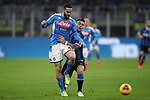 Lautaro Martinez of Inter tussles with Kostas Manolas of Napoli during the Coppa Italia match at Giuseppe Meazza, Milan. Picture date: 12th February 2020. Picture credit should read: Jonathan Moscrop/Sportimage