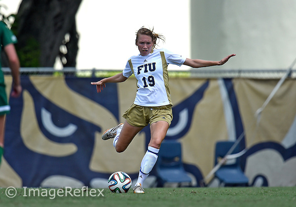 Florida International University women's soccer midfielder Sara Stewart (19) plays against the University of Charlotte on September 28, 2014 at Miami, Florida. Charlotte won the game 2-1.