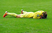 Goalkeeper Berangere Sapowicz of team France reacts during the FIFA Women's World Cup at the FIFA Stadium in Moenchengladbach, Germany on July 13th, 2011.